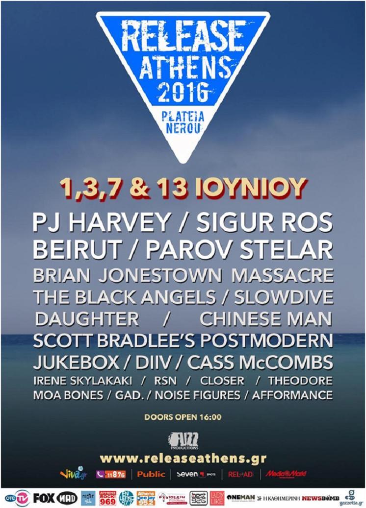 Release Festival Athens 2016 - Beirut, PJ Harvey, Sigur Ros, Parov Stelar
